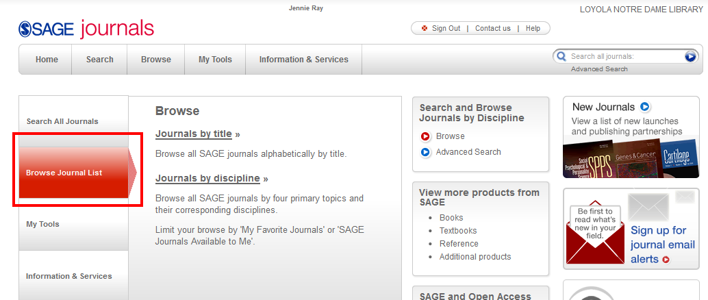 SAGE browse journal list