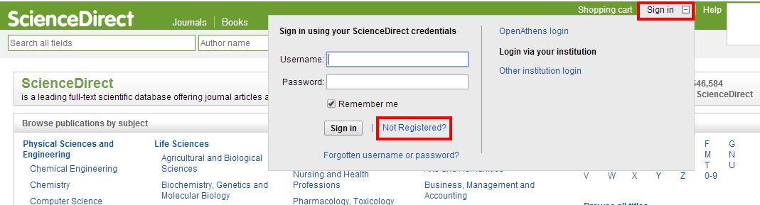 science direct not registered link
