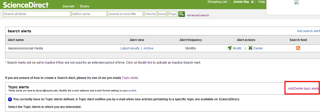 sciencedirect add-delete topic alert