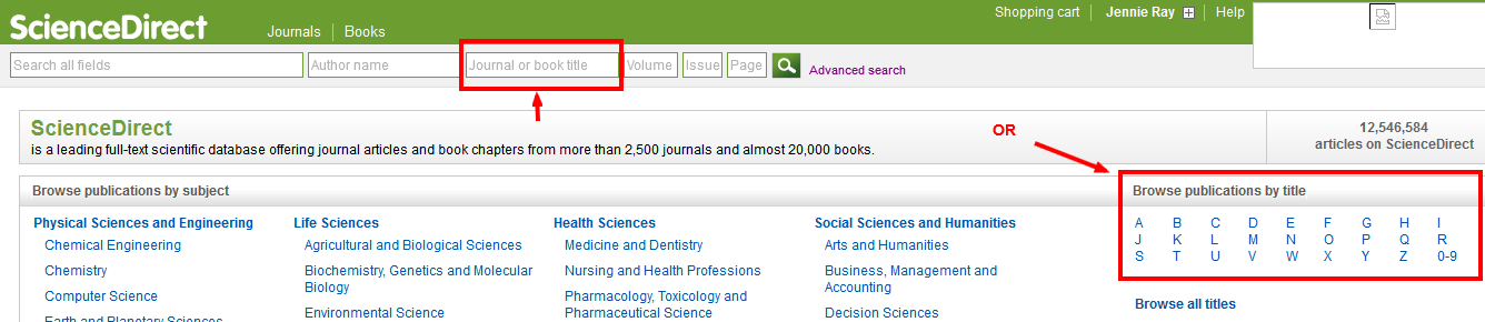 science direct journal browse