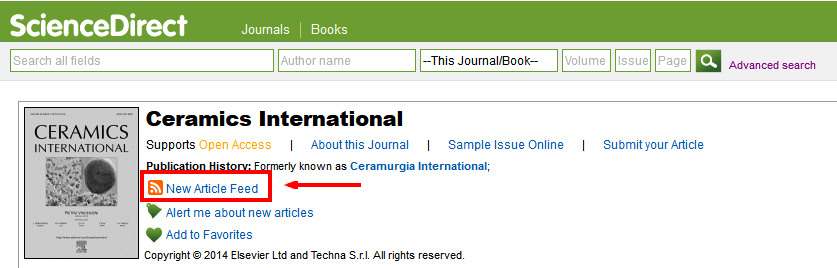 sciencedirect RSS feed link for journal 2