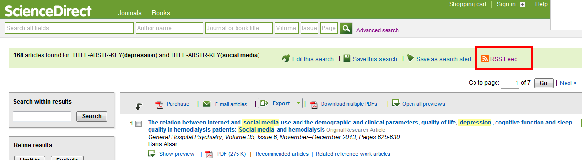 sciencedirect RSS feed link on results list