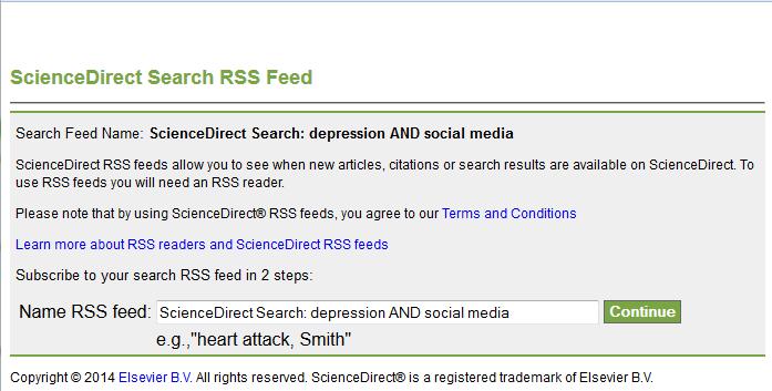 RSS feed settings sciencedirect1