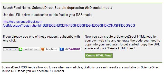 sciencedirect RSS feed URL