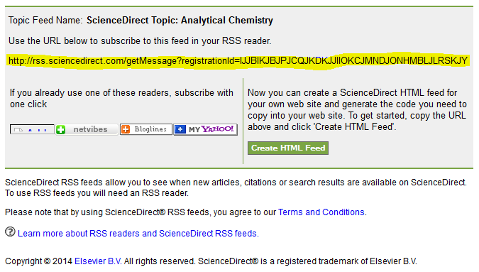sciencedirect topic alert feed URL