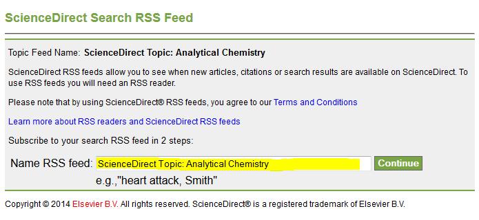 sciencedirect topic alert RSS setup