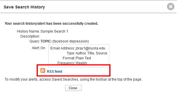 RSS alerts link in Web of Science