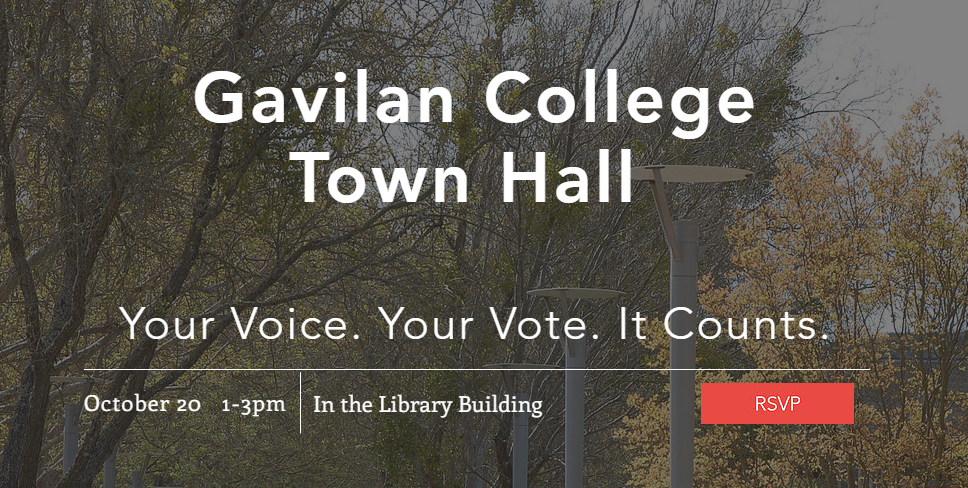 Picture of Gavilan College Town Hall logo for October 20 1pm-3pm