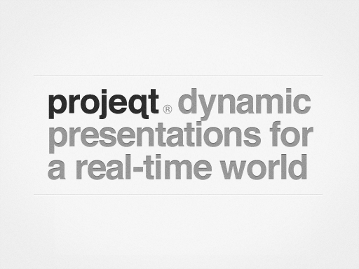 "Projeqt describes itself as ""dynamic presentations for a real time world."" Use it to create linear and stacked slide presentations for any type of event. Embed images, text, documents, or add data from your favorite social media tools."