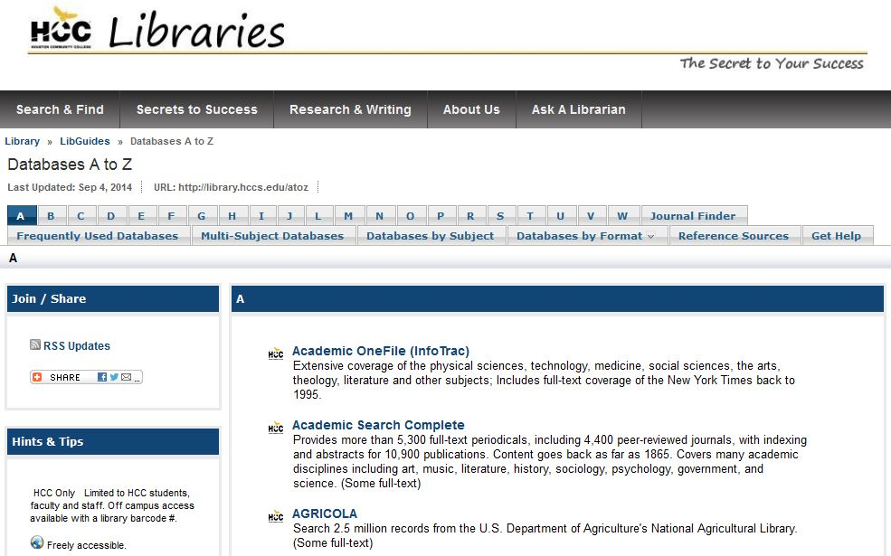 HCC Libraries Databases