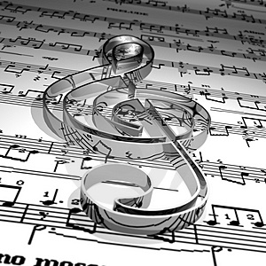 Illustration of Sheet Music and Treble Clef