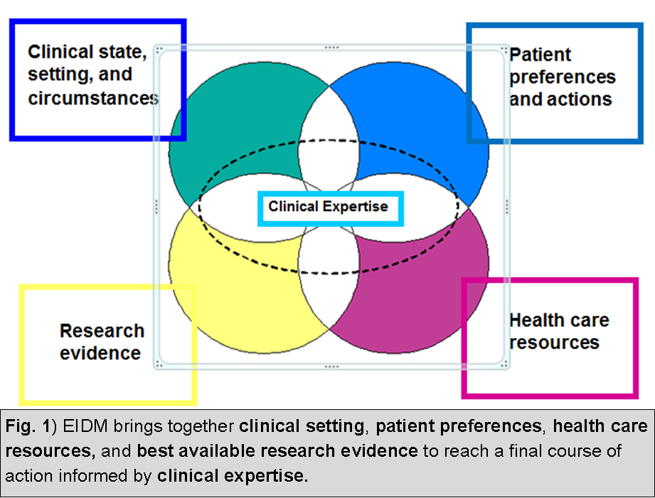 Conceptual diagram of EIDM.  Using clinical expertise to make the best decision based on clinical setting, patient preferences, health care resources, and research evidence.