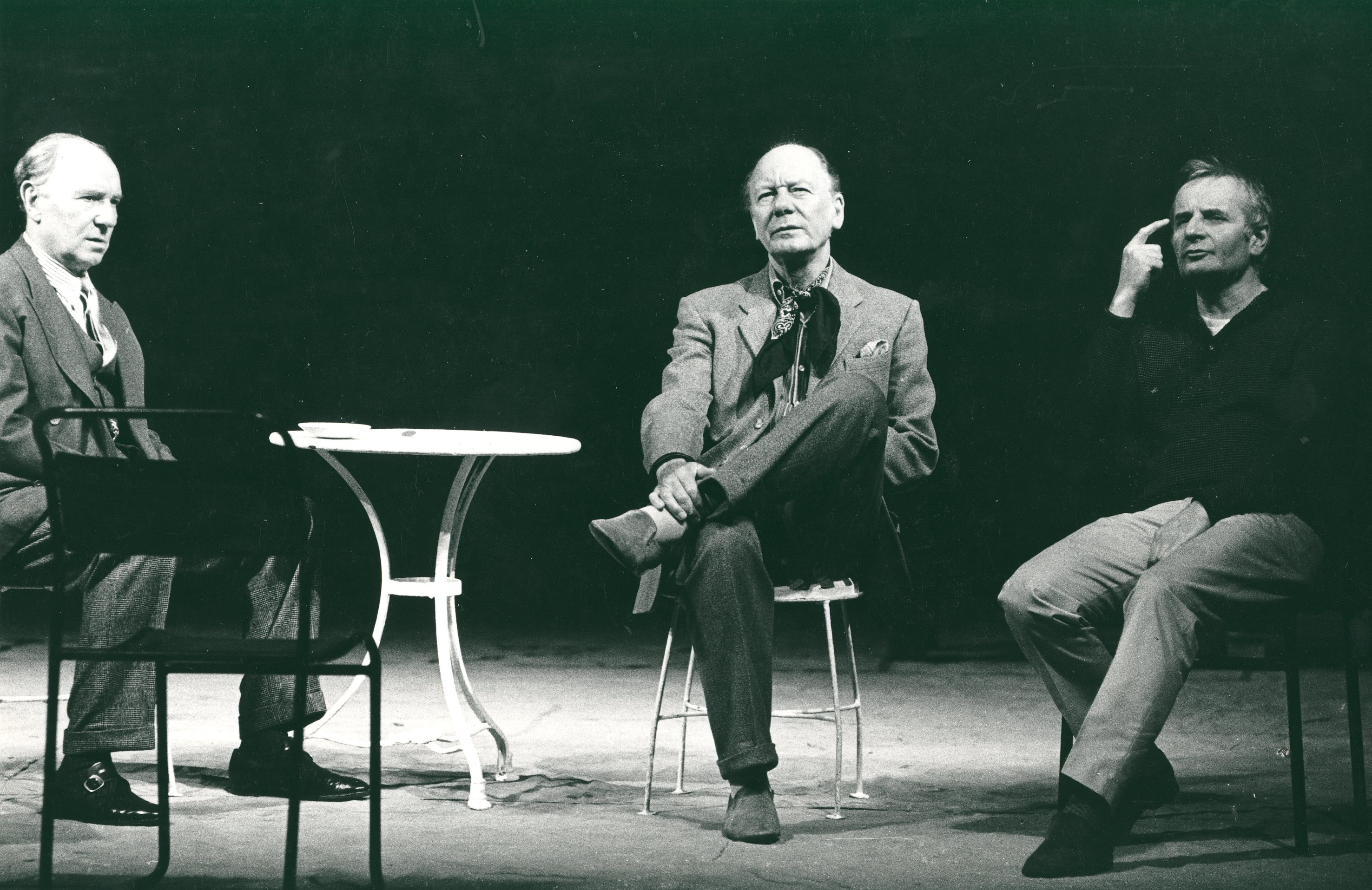 Ralph Richardson, John Gielgud and Lindsay Anderson rehearsing a scene from the play Home, 1970.