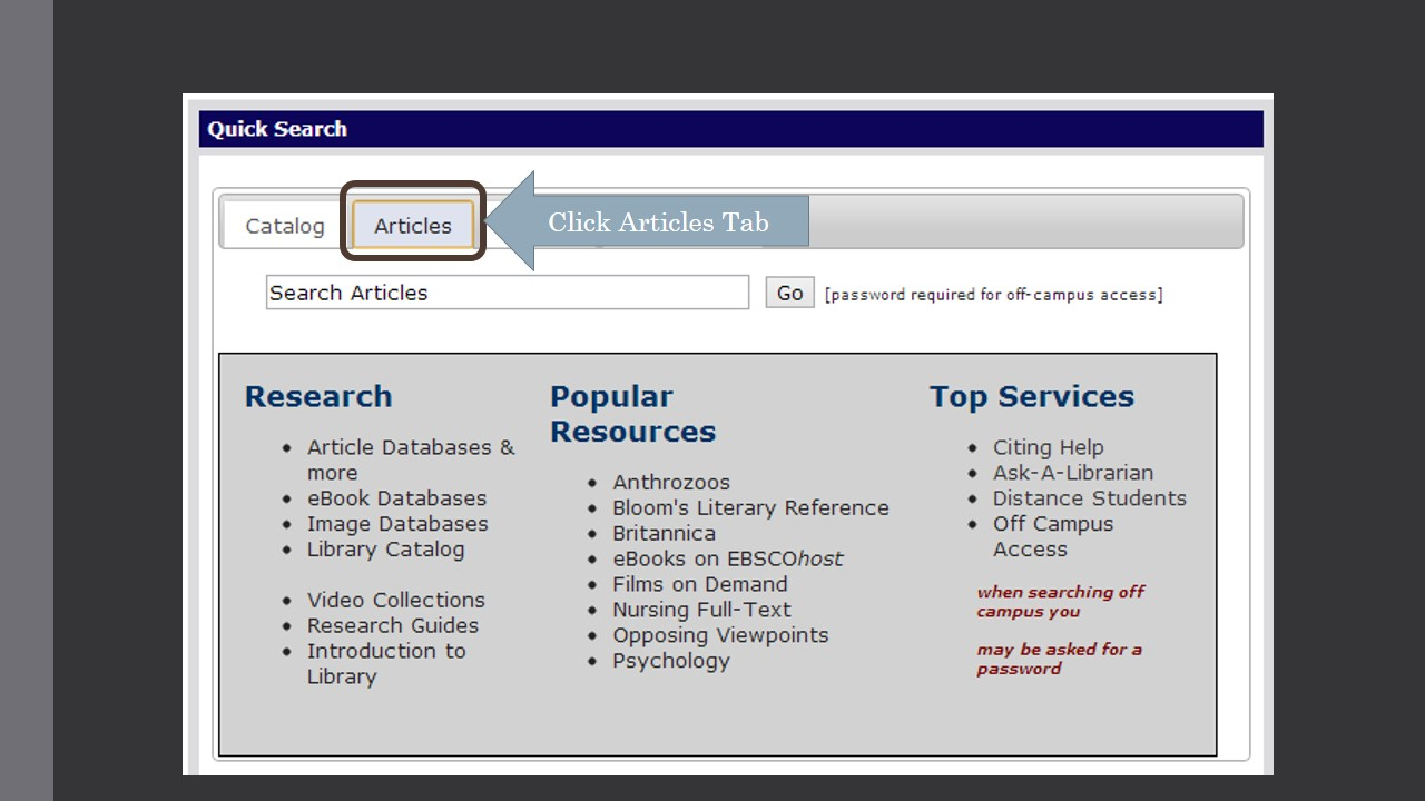 Image provides example screenshot of quick search box on library website