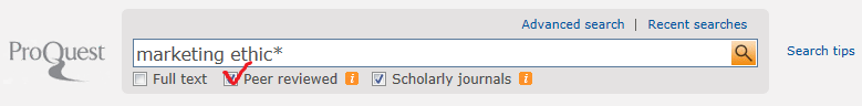 ProQuest search showing peer-review option