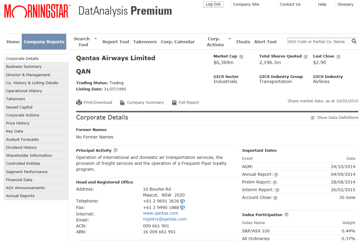 DatAnalysis search result- company information with QANTAS example