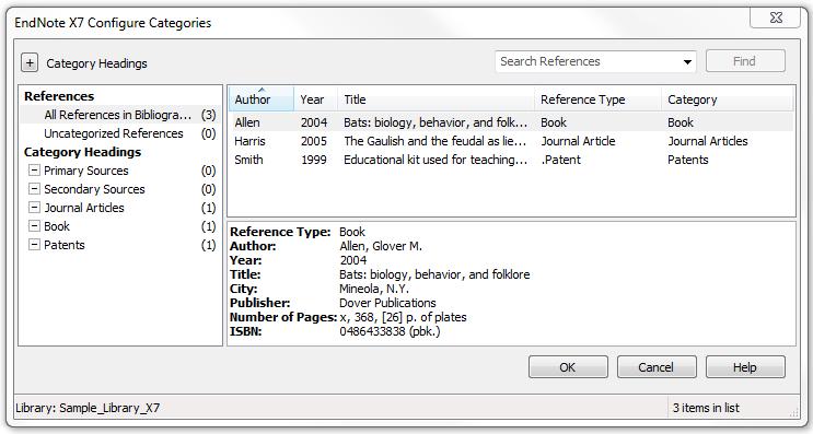 screenshot endnote output styles