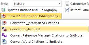 screenshot endnote convert citations and bibliography menu