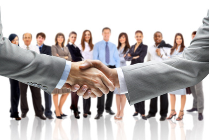 Business people handshaking image