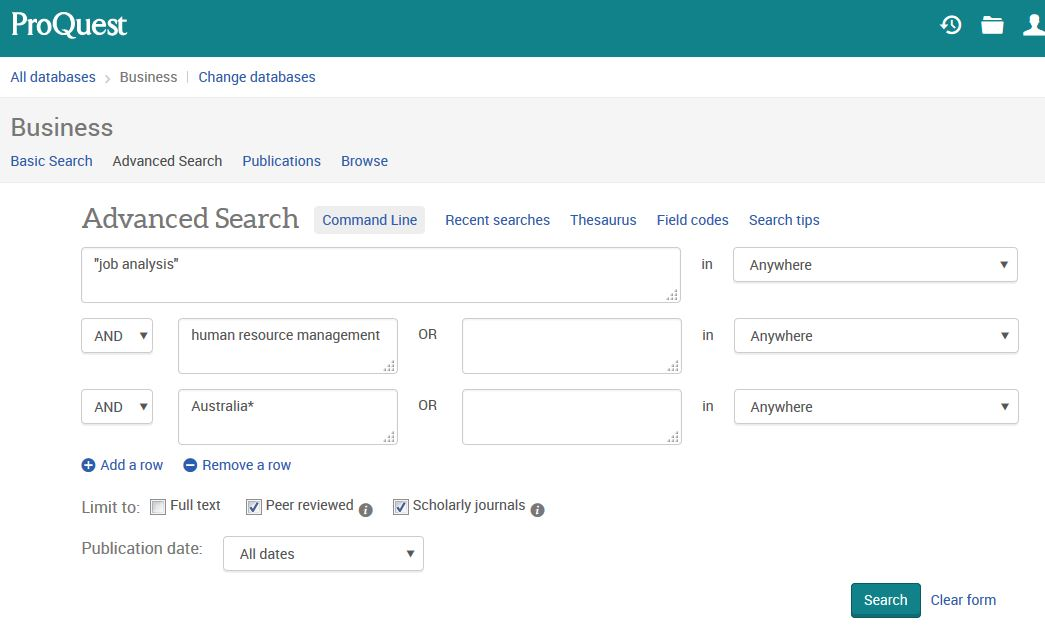 ProQuest Business search