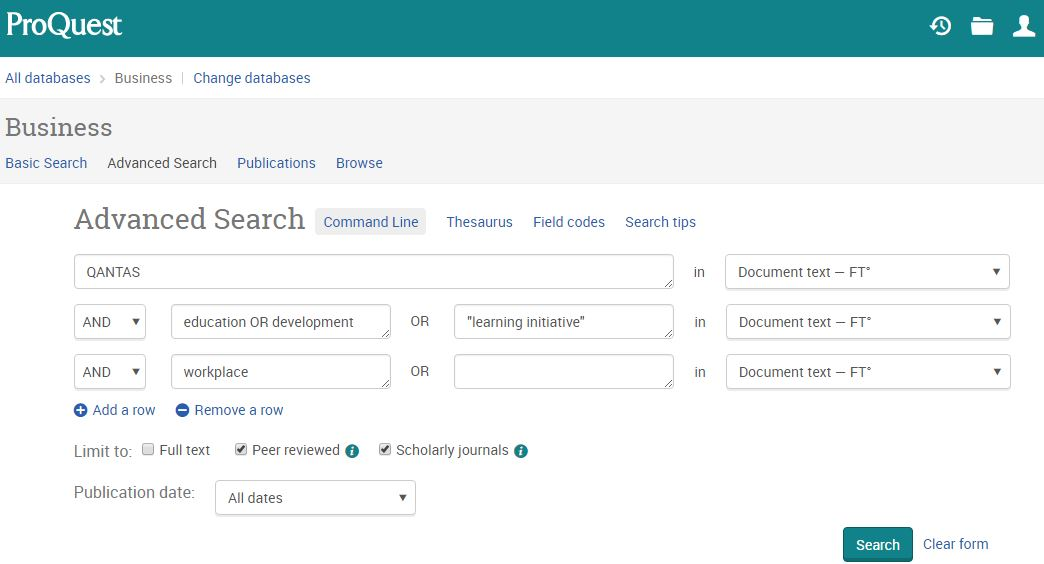 ProQuest Business Advanced search