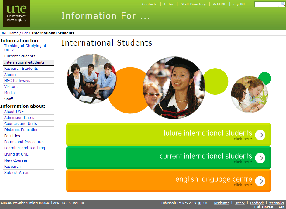 UNE webpage image