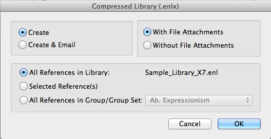 Compressed library with file attachments