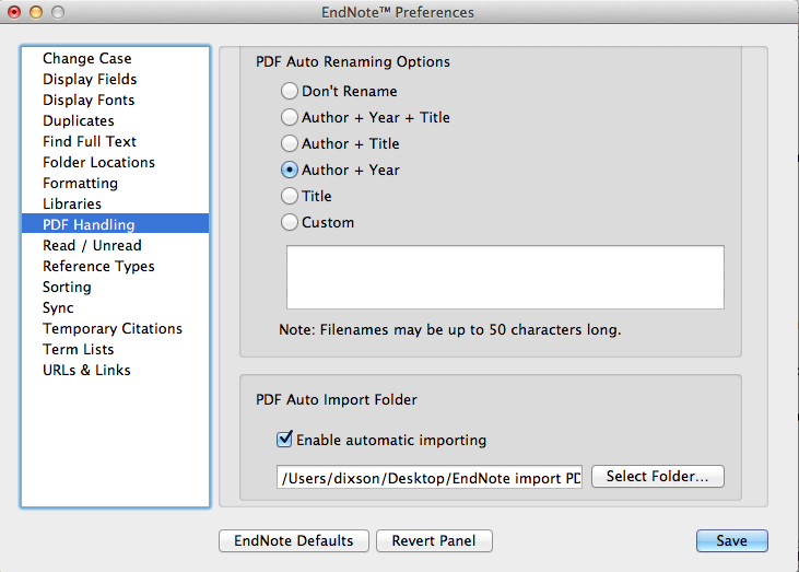 Endnote Preferences Enable automatic importing