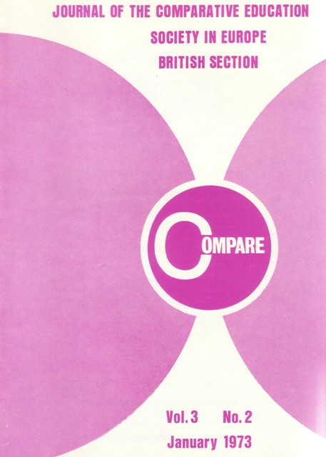 Image of front cover of Compare, journal of the Comparative Education Society in Europe, British Section, January 1973