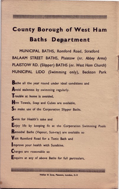Image of an advertisement for West Ham baths, from the Horace Panting collection