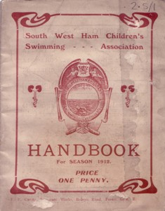Image of a swimming handbook from 1912 (reference HP/2/5/1)