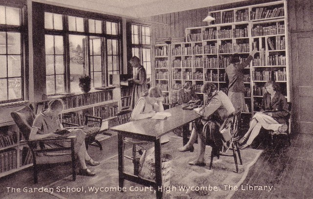 Postcard of the library at the Garden School