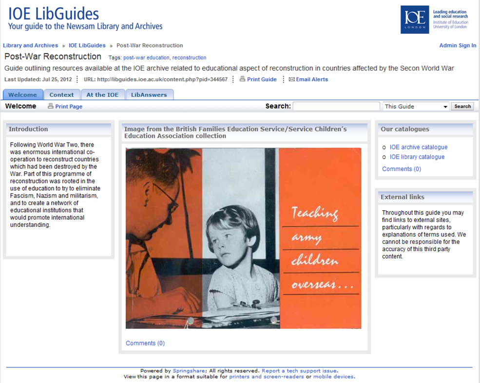 Image of screenshot of the libguide to post-war reconstruction