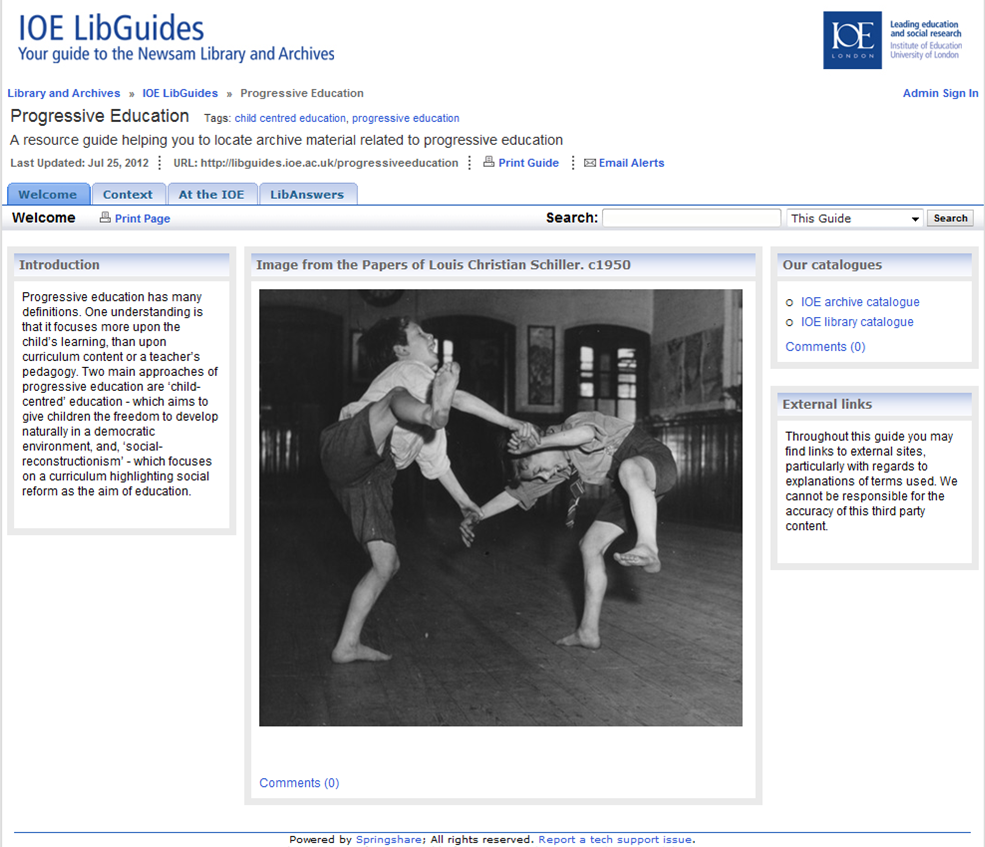 Image of a screenshot of the libguide to archives on progressive education