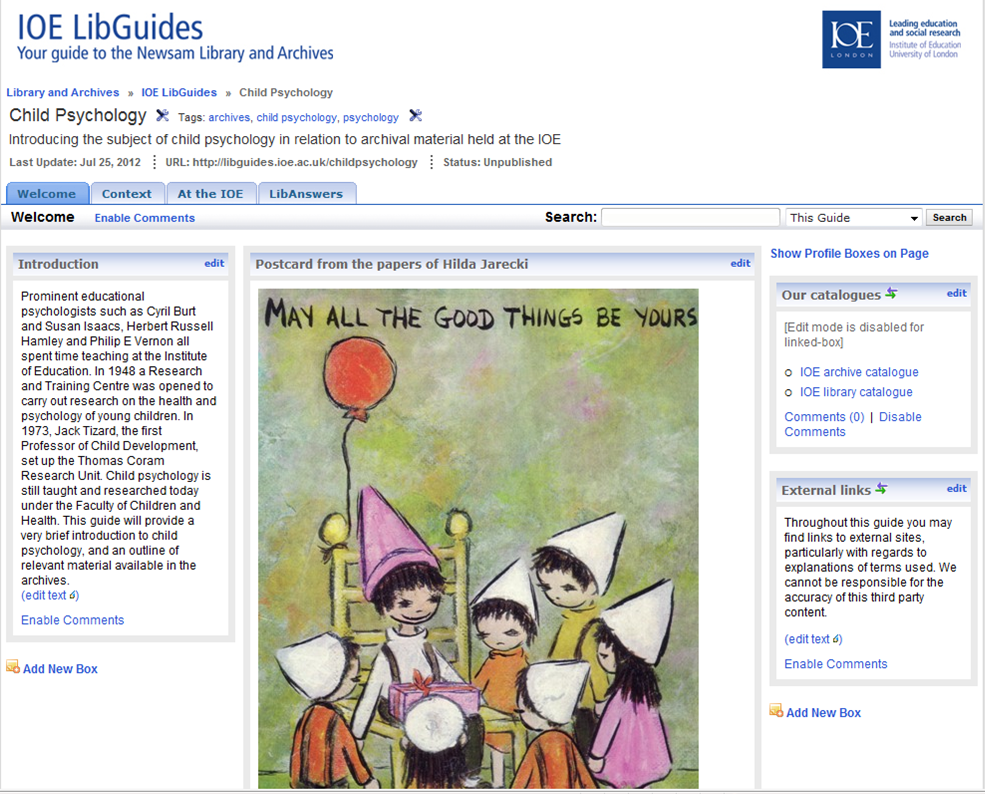 Image of screenshot of the libguide to archives on child psychology