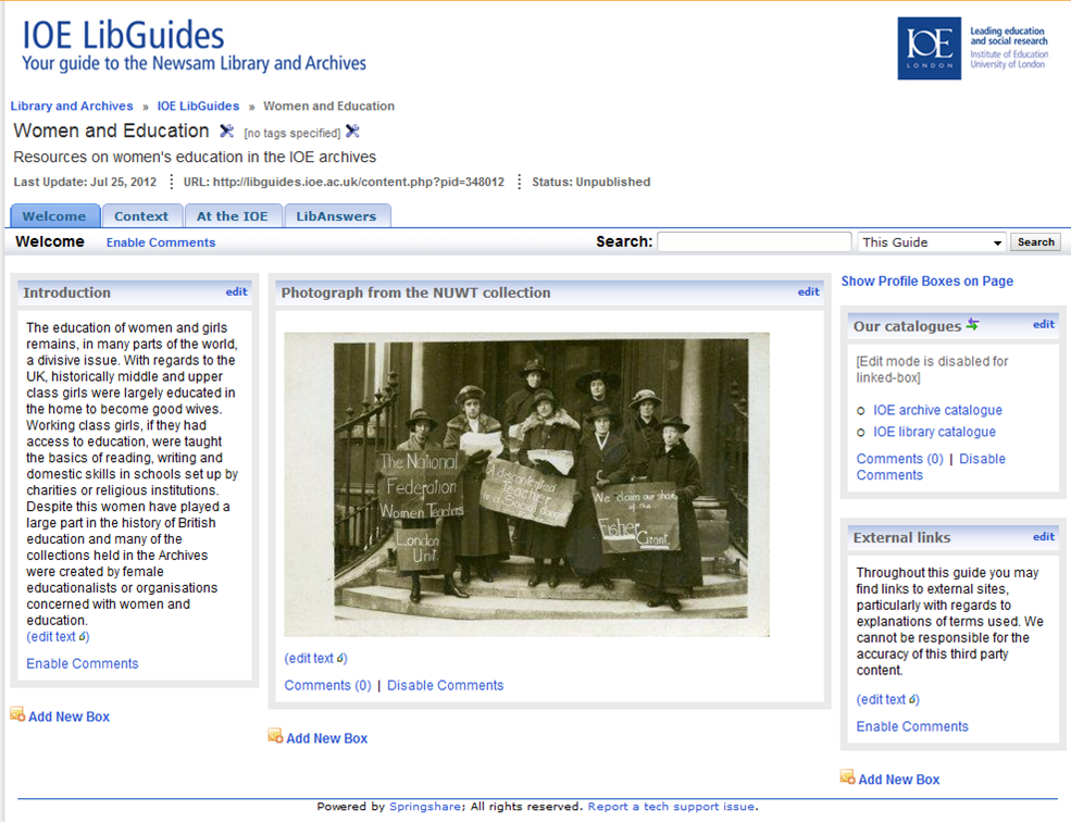 Image of a screenshot of the IOE libguide on women and education