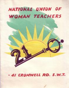 Image of a home-made birthday card sent to NUWT Headquarters to celebrate 21 years in Cromwell Road headquarters, 1956