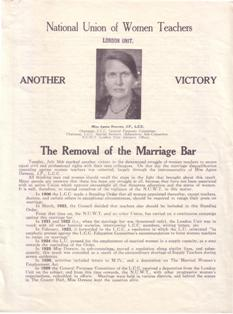 Image of leaflet produced to mark the removal of the marriage bar by London County Council, 1922