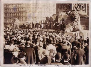 Photo of an equal pay demonstration held in Trafalgar Square, 1927