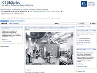 Image of screenshot of libguide for vocational and technical education