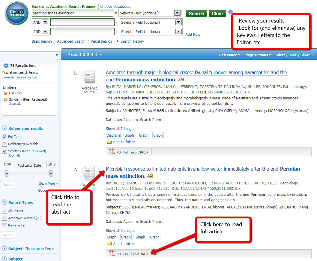 screenshot of search results in a database