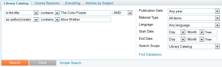 "Advanced Search with ""The Color Purple"" in the title field; ""Alice Walker"" in the author/creator field"