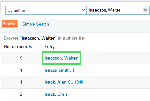 Browse by Author Isaacson, Walter