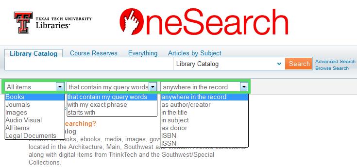 Drop-down Menu Options to Narrow Search
