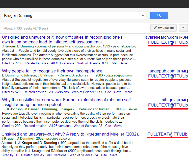 "Google Scholar Results for a search of ""Kruger Dunning"""