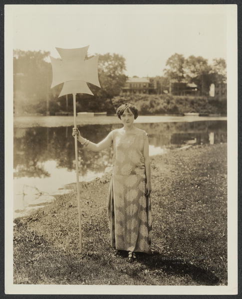 Miss Virginia Moran of Seneca Falls as Truth in the Dnace [Dance] Drama, depicting the Progress of Woman, to be given at the reception at Seneca Falls on July 20 in honor of the officers and members of the National Woman's Party in connection with the seventy-fifth Equal Rights anniversary celebration
