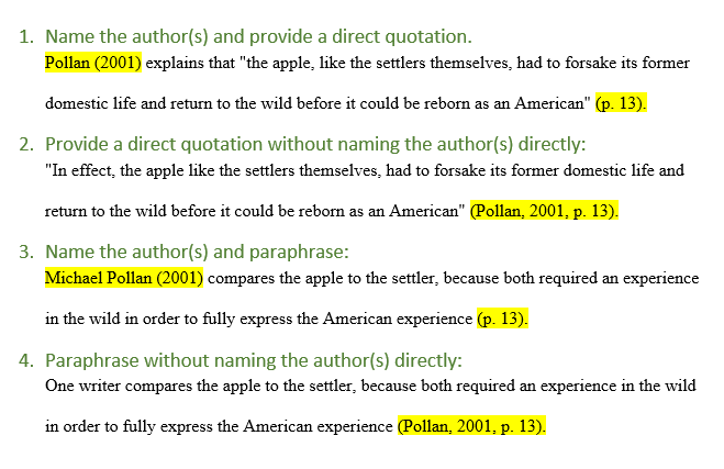 APA in-text examples