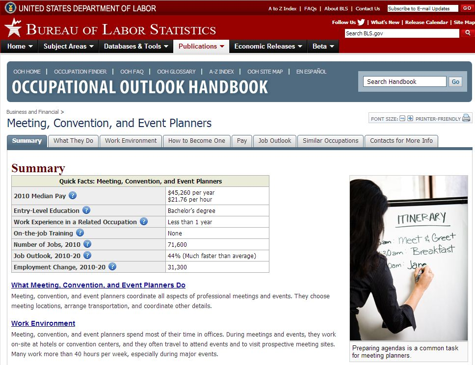 Meeting Planner Career Info