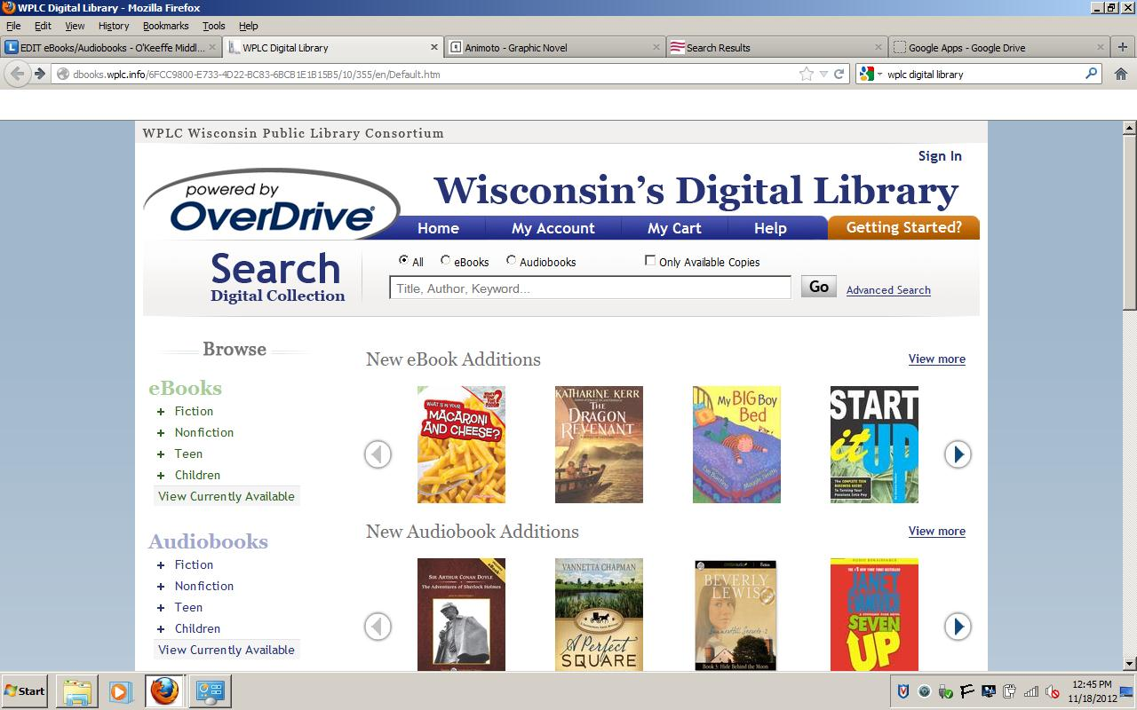 Wisconsin's Digital Library - link to Overdrive