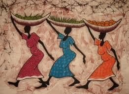 Batik logo of African women carrying baskets on their heads